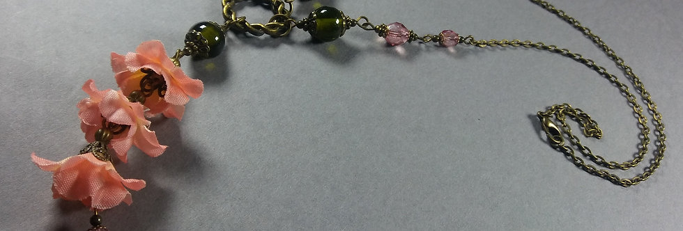 Pink & Olive Floral Necklace