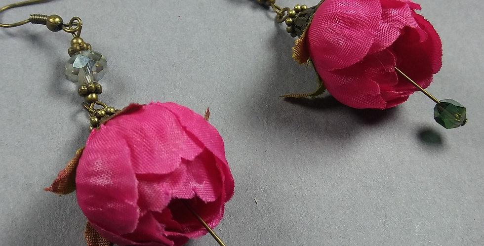 Fuschia Floral Earrings