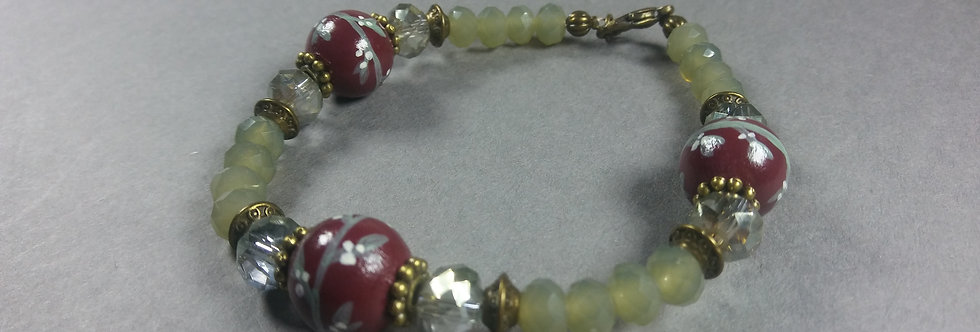Hand Painted Burgandy w/White/Green Floral Bracelet
