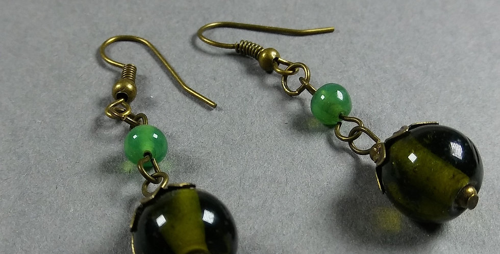 Olive & Green Teardrop Earrings