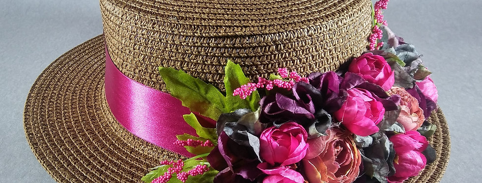 Chocolate Brown Hat w/Fuchsia Flowers