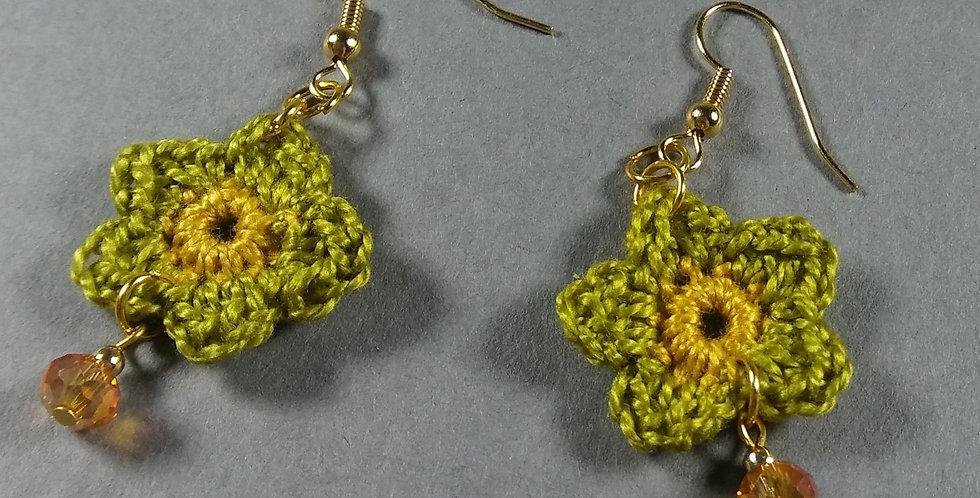 Green Floral Crochet Earrings