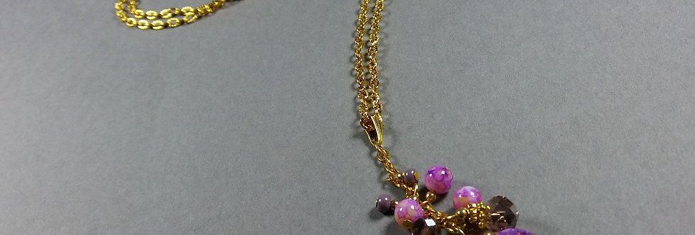 Olive w/Pink & Cream Necklace