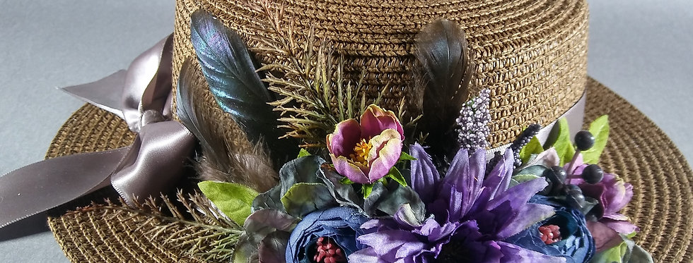 Chocolate Brown Hat w/ Dusky Purple Florals