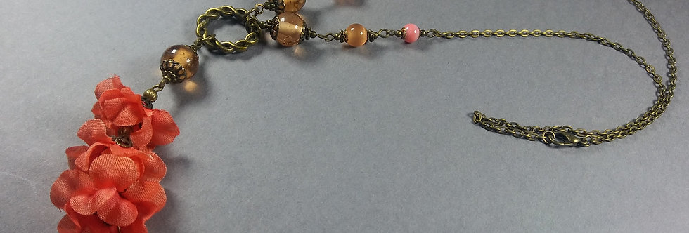 Salmon Pink & Peach Floral Necklace