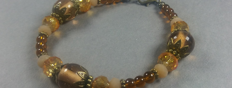 Yellow Gold & Burn Orange Beaded Bracelet