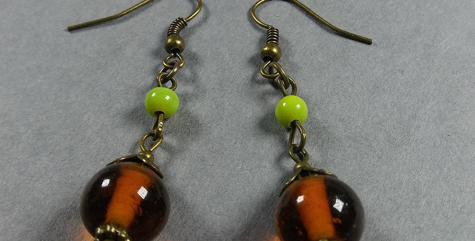 Brown & Yellow-Green Teardrop Earrings