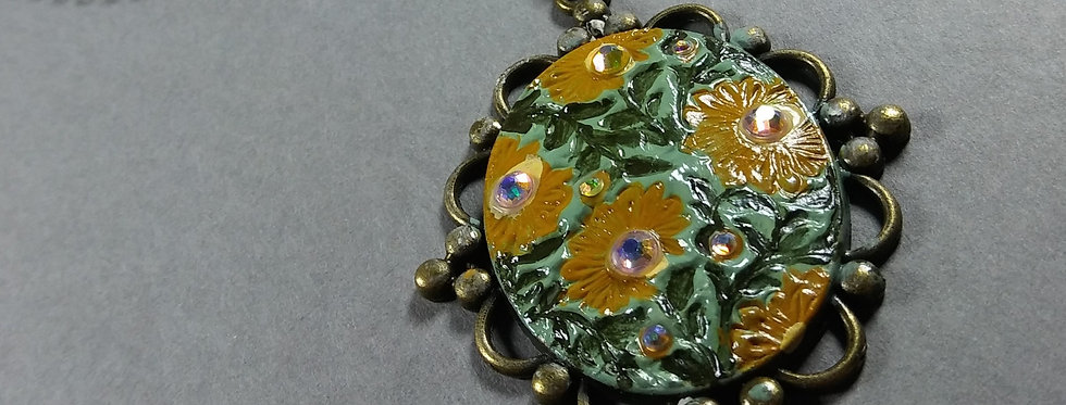Hand Painted Flowered Brooch Necklace