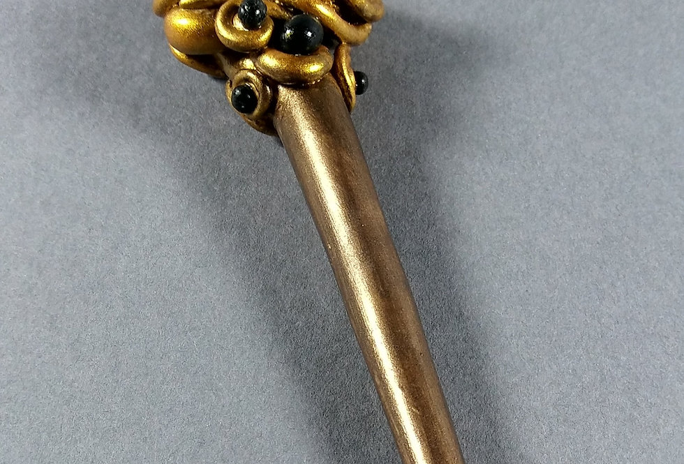 Gold & Black Clay Beaded Hair Stick