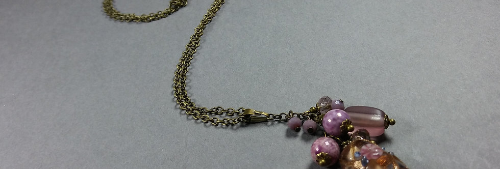 Peach Focal w/Lavender-Pink Necklace