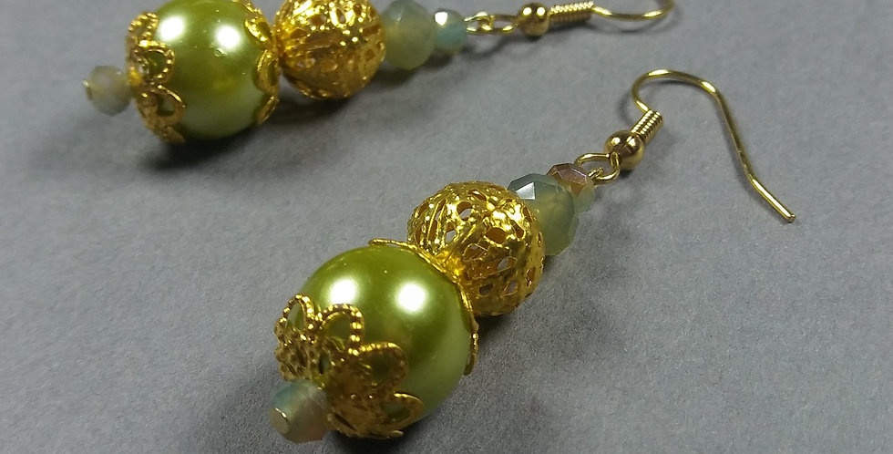 Green, Pearl & Olive Earrings