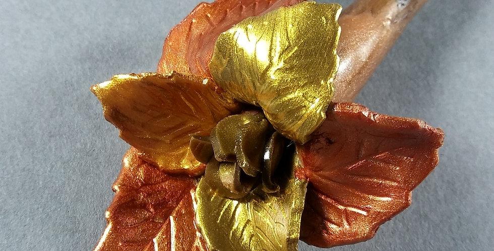 Bronz & Gold Leaf Clay Hair Stick