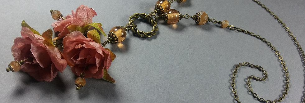Rose Pink & Antique Floral Necklace