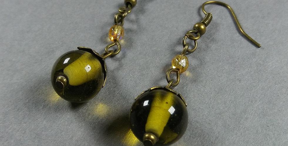 Olive & Gold Teardrop Earrings