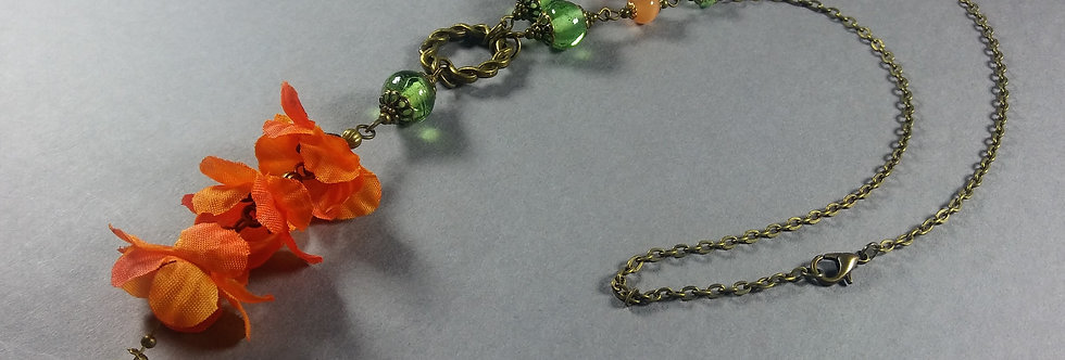 Orange & Pale Green Floral Necklace