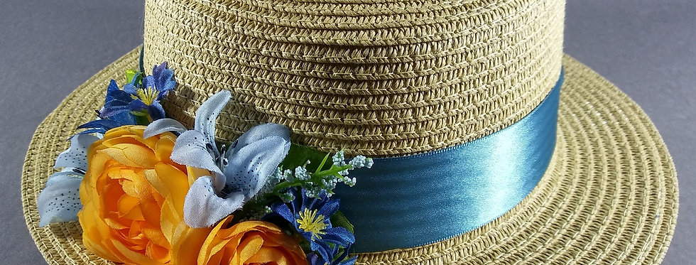 Beige Hat w/Light Blue & Orange Flowers