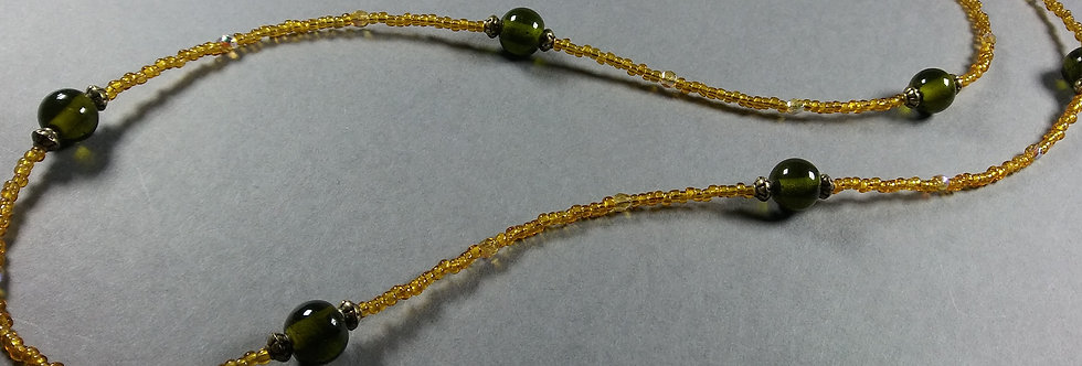 Gold & Olive Beaded Necklace