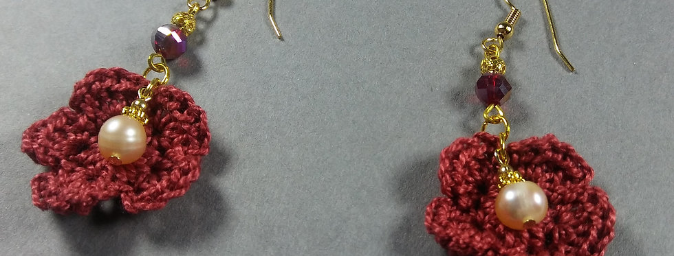 Red Floral Crochet Earrings