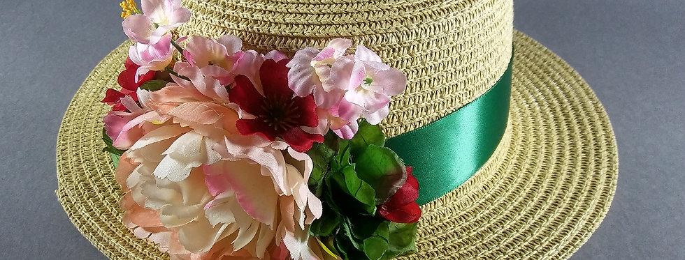 Beige Hat w/ Hunter Green Ribbon & Pink Flowers