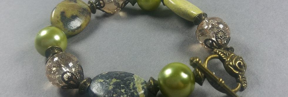 Line Green & Green Beaded Bracelet