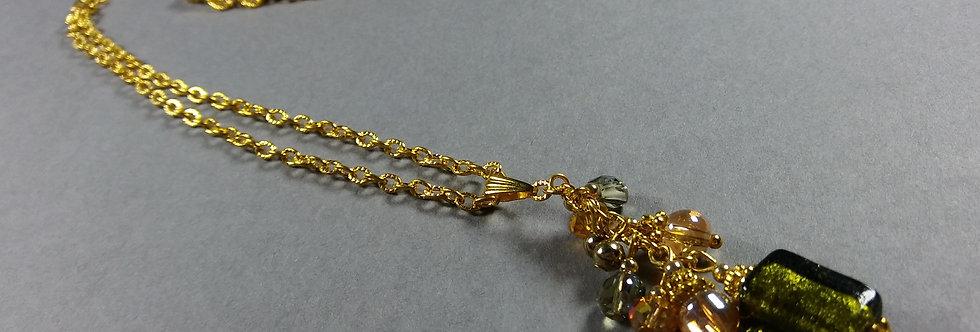 Olive Focal w/Olive & Gold Necklace