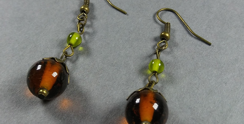 Brown & Green Teardrop Earrings