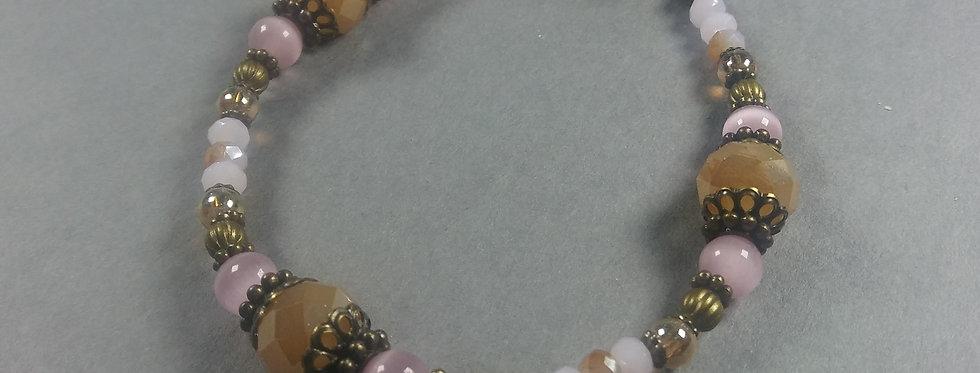Yellow, Orange, Pink, Gold Beaded Bracelet