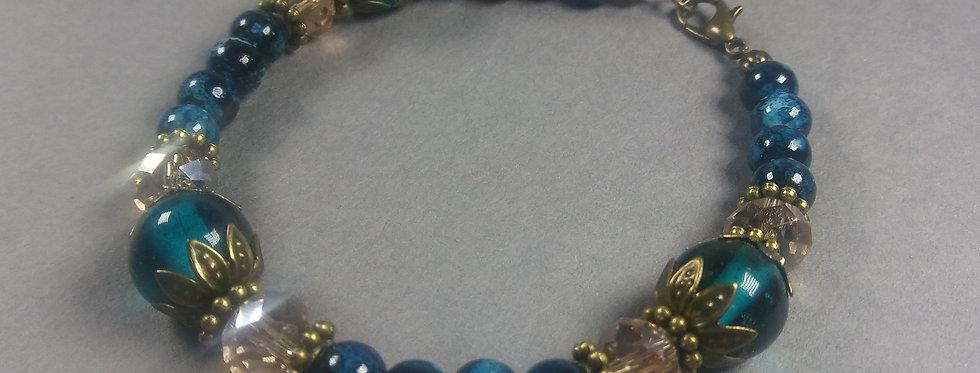 Dark & Light Blue Beaded Braclet