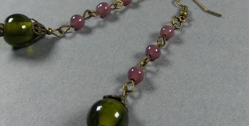 Dark Olive & Lavender Teardrop Earrings