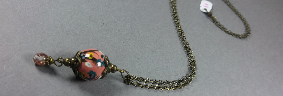 Pendant w/Pink, Teal & White Necklace