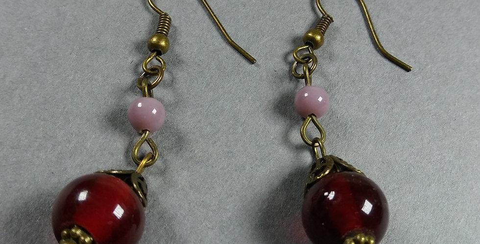 Red & Lavender Teardrop Earrings