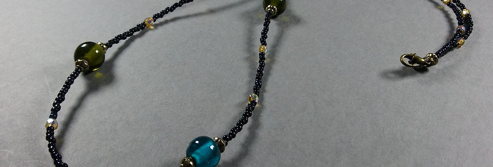 Green, Teal & Black Beaded Necklace