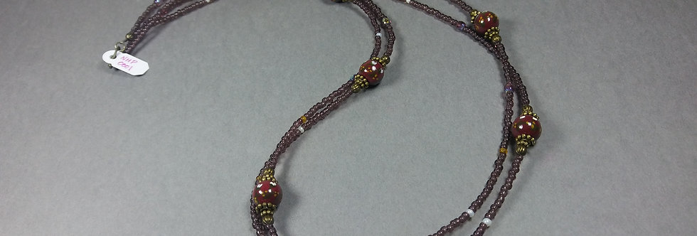 Handpainted Burgundy w/Pearl & Gold Necklace