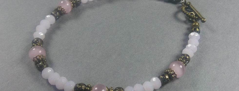 White & Pink Beaded Bracelet