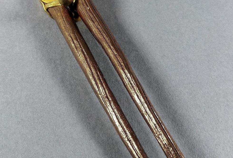 Handmade Brown Clay Hair Stick w/Gold Setting