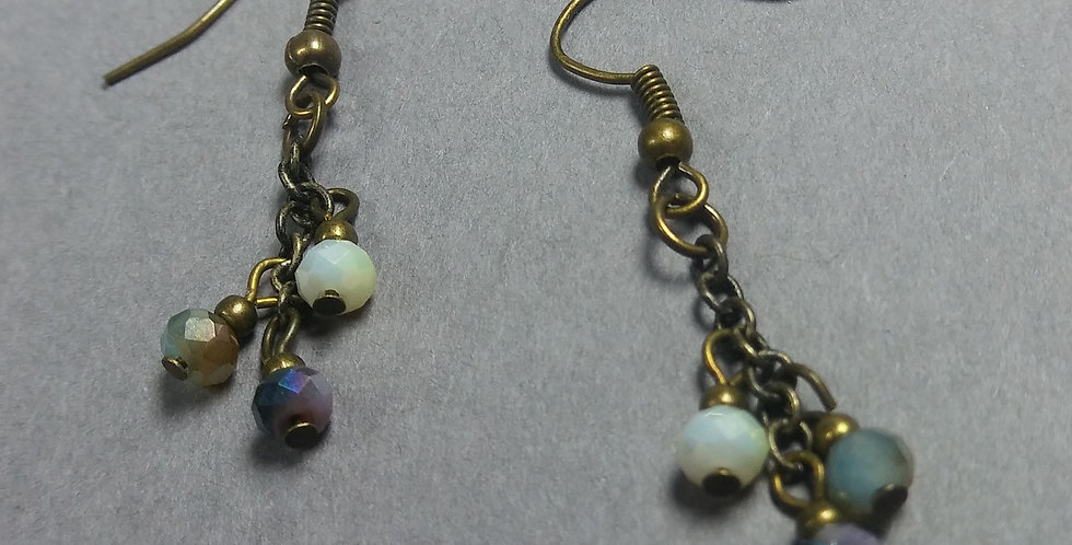 Pale & Stormy Beaded Earrings