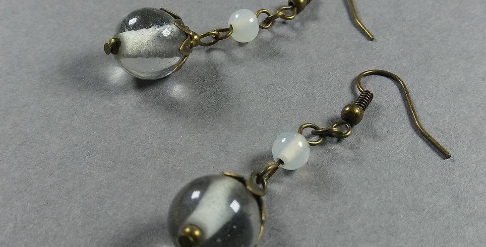 Clear & White Teardrop Earrings