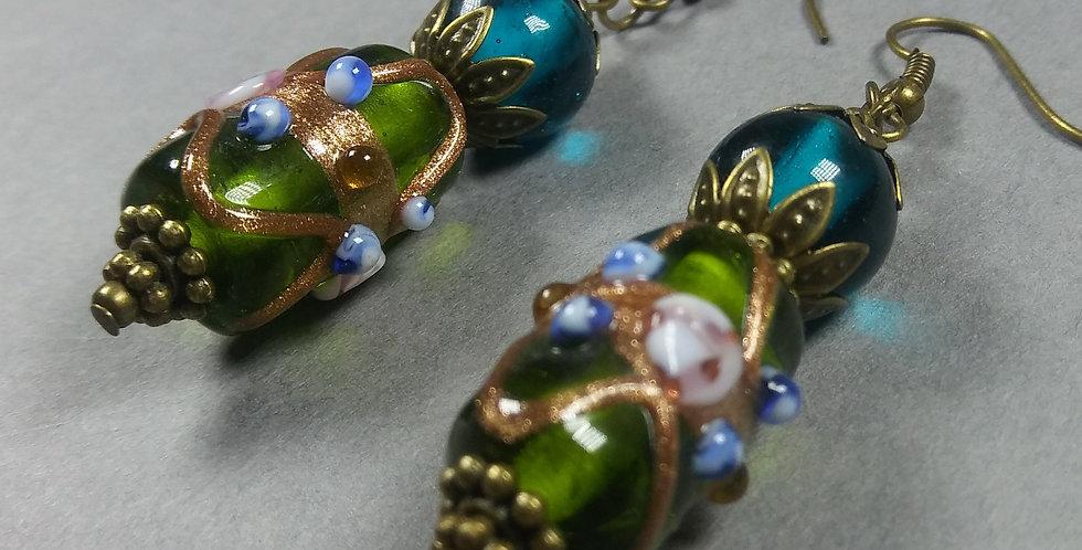 Teal & Green Glass Beaded Earrings