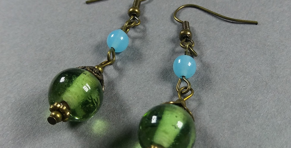 Mint & Pale Blue Teardrop Earrings