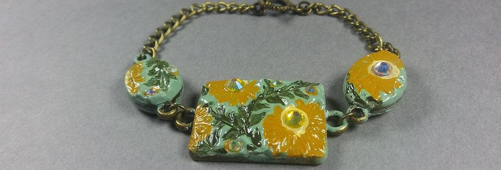 Mint & Mustard Floral Braclet w/Pale Rinestones