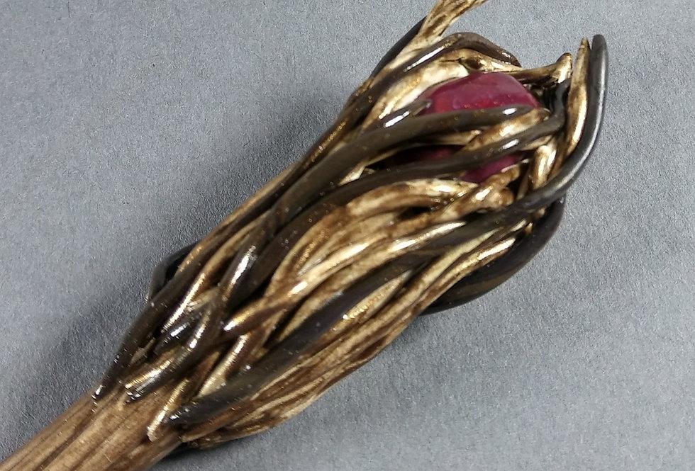 Handmade Clay Hair Stick w/Wood Design