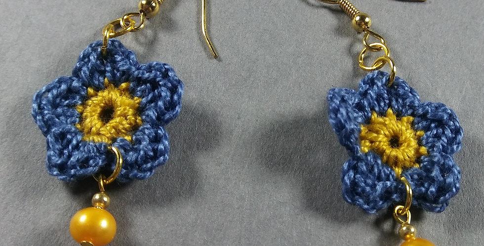 Blue Floral Crochet Earrings