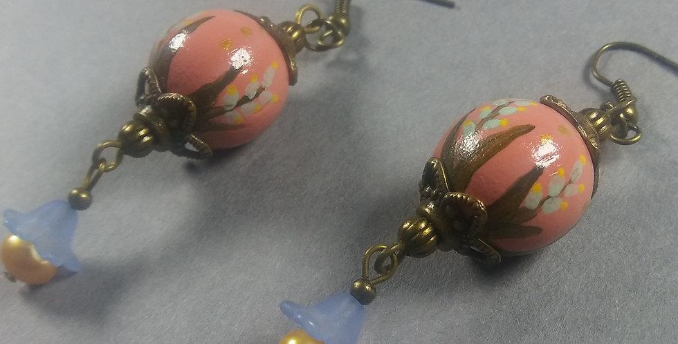 Handpainted Rose Earrings