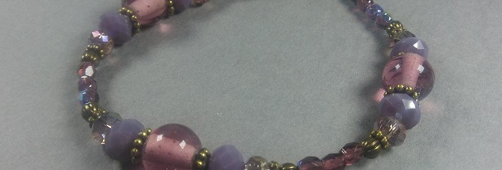Purple & Pink Beaded Bracelet