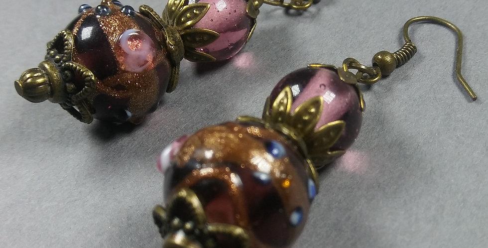 Mauve & Purple Beaded Earrings