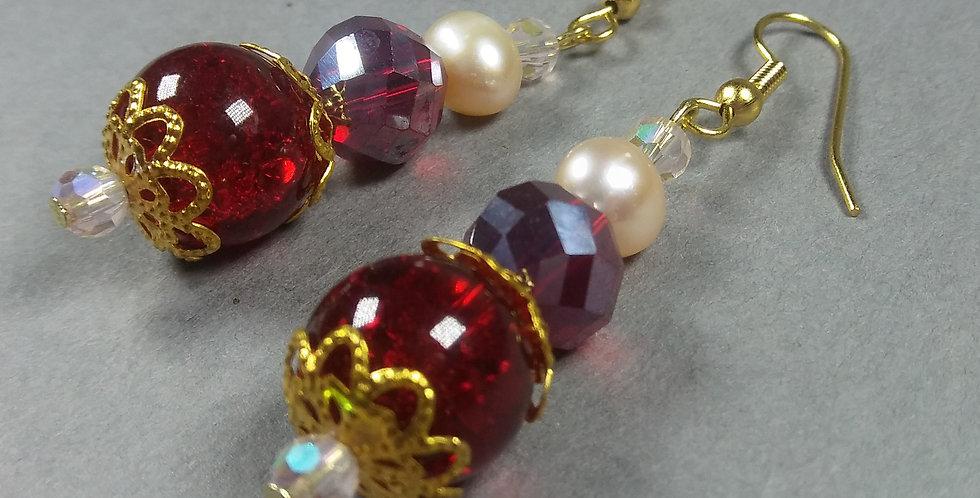 Red & Cream Pearl Earrings