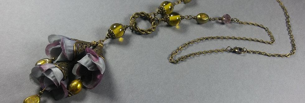 Dusky Lavender & Olive Floral Necklace