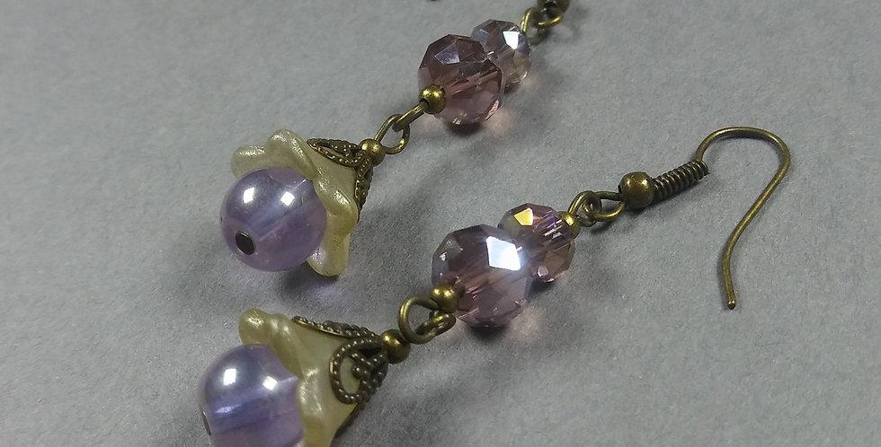 Purple & Pearl Lucite Floral Earrings