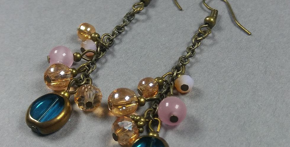 Cerulian, Peach & Pink Cascade Earrings