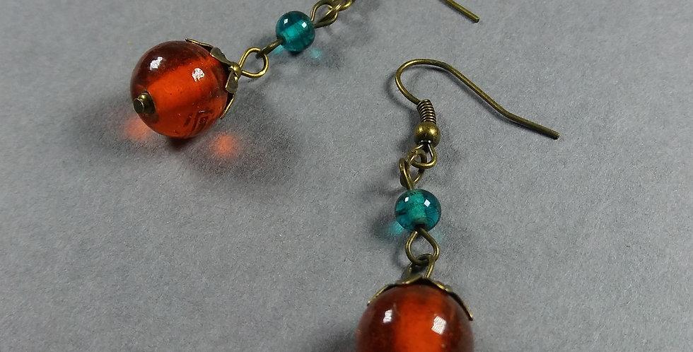 Orange & Teal Teardrop Earrings